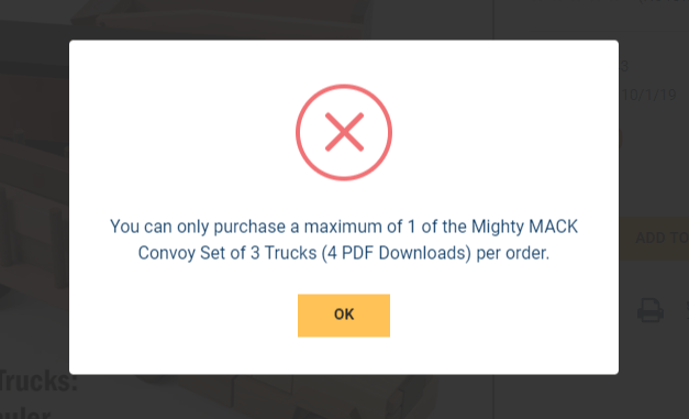 change the wording You can only purchase a maximum of 1