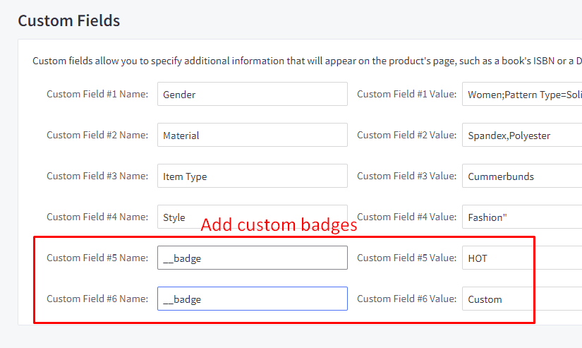 edit product badges in custom fields